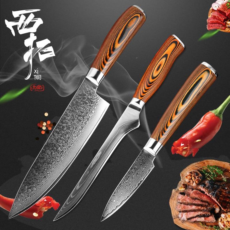 XITUO3 PCS set kitchen tool set high quality 67 layer Japan VG10 Damascus steel chef knife practical santoku cooking tool gift