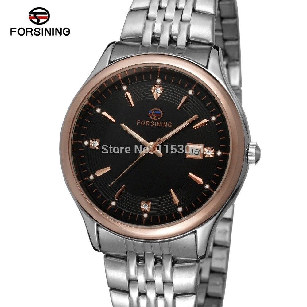 Forsining Men's Watch Brand New Arrival Quartz  Stainless Steel Bracelet Classic Original Wristwatch Color Black FSG8088Q4T4