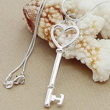 Nouveau à la mode 925 argent collier coeur clé pendentif collier pour femmes hommes bijoux accessoires