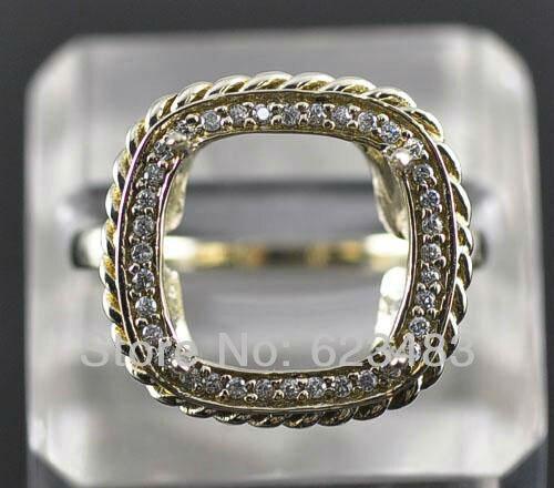Corte da princesa 11mm Sólida 14 k Ouro Amarelo Natural Diamond Semi Mount Configuração Anel de Noivado