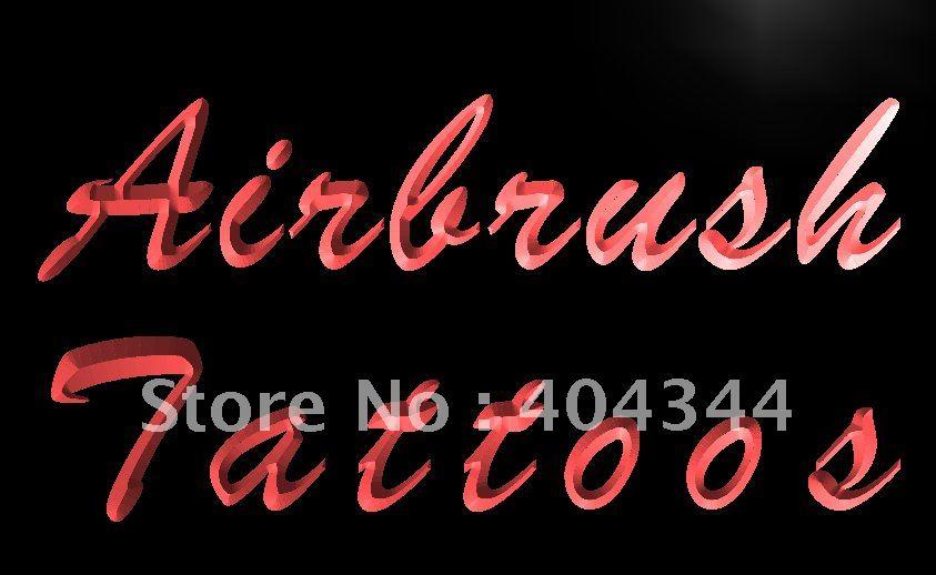 LK118-aerógrafo de exhibición de tatuajes letrero de neón con luz LED manualidades decorativas para el hogar