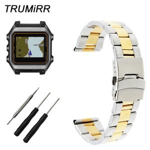 22mm Stainless Steel Watch Band +Tool for Garmin Epix Forerunner 935 FR935 Safety Buckle Strap Wrist Bracelet Black Gold Silver