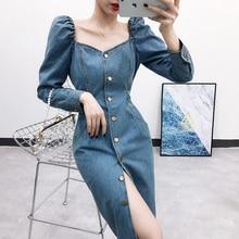 Spring autumn fashion Split denim dress package hip puff sleeve single-breasted women slim v-neck jeans dress