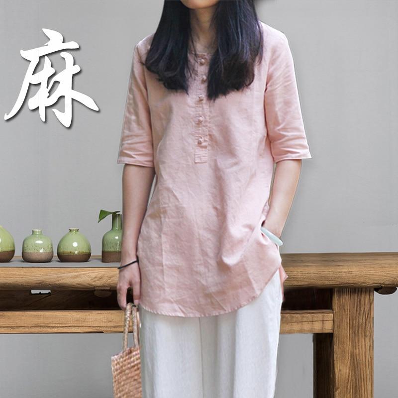 Camisa de lino de manga corta 190617