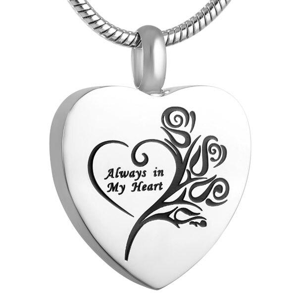 IJD9122 grabado de flores siempre en mi corazón collar de urna conmemorativo humano/mascota cremación colgante cenizas titular joyería de recuerdo