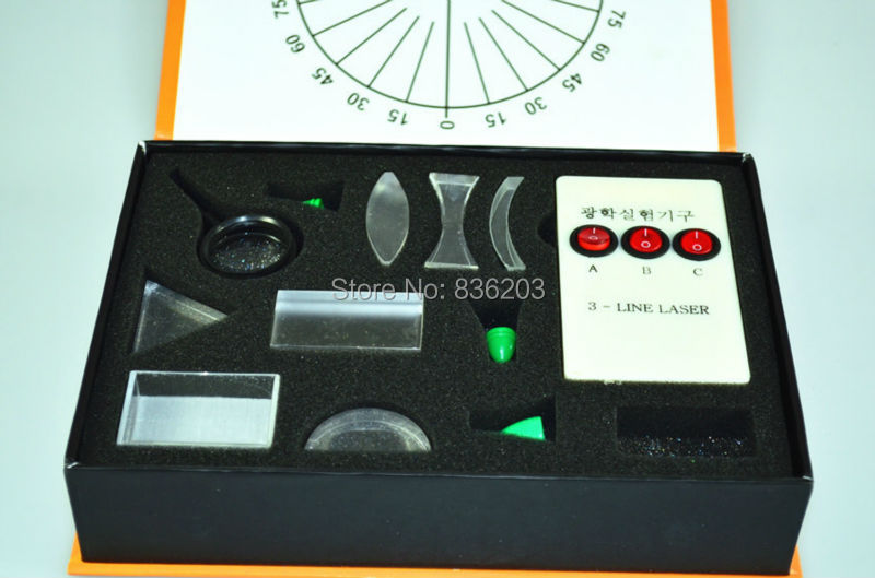 KIT de experimentos ópticos de ciencia física, prisma Triangular, lente cóncava convexa, prisma Triangular, Perno de prueba de láser Fisica