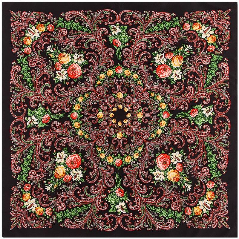 POBING 100% bufanda de seda, Bufandas cuadradas para mujeres, chales 2017, banda para la cabeza musulmana Bohemia, Bandana Foulard femenino, Hijab de seda para mujeres, Bufandas