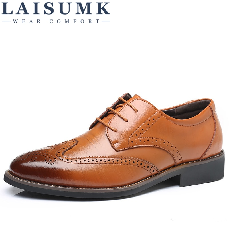 LAISUMK Luxury Designer Formal Men Dress Shoes Genuine Leather Classic Brogue Shoes Flats Oxfords For Wedding Office Business deification luxury brand men oxfords shoes blue metal toe genuine leather dress party shoes crystal studded mens wedding shoes
