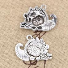 5 sztuk Charms róg obfitości święto dziękczynienia 28x20mm Antique Making wisiorek fit,Vintage tybetański srebrny kolor, ręcznie robiona biżuteria DIY