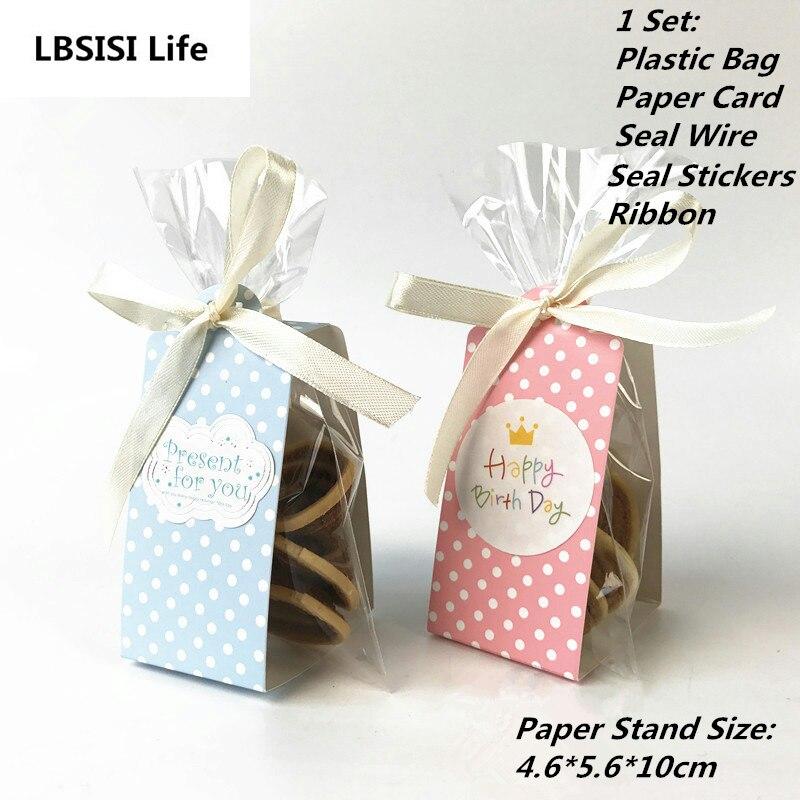 LBSISI Life 100 juegos de bolsas de plástico para bolsas de galletas, dulces, pan, rosa, azul, regalo de fiesta, Chocolate, bolsa de soporte autónomo para bodas