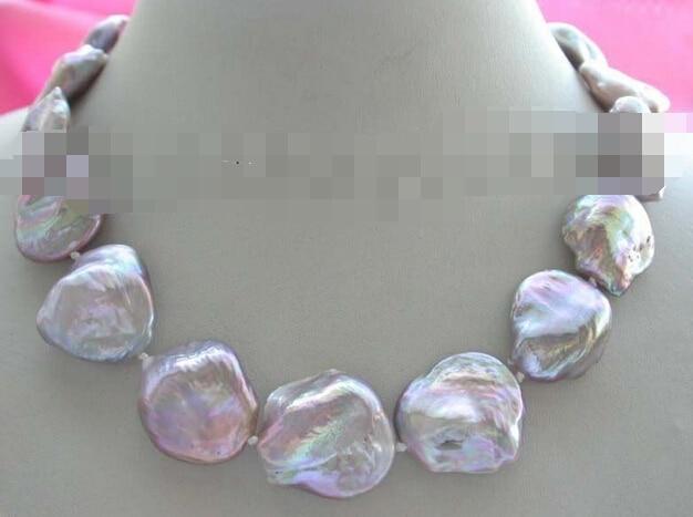 Joyería genuina Natural 18-24mm púrpura Reborn Keshi collar de perlas
