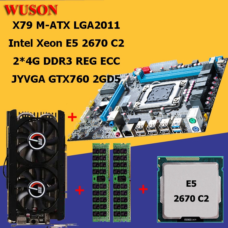 Edifício pc huanan x79 processador placa-mãe xeon e5 2670 ram 8g (2*4g) ddr3 reg ecc placa de vídeo gtx760 2gd5 tudo testado