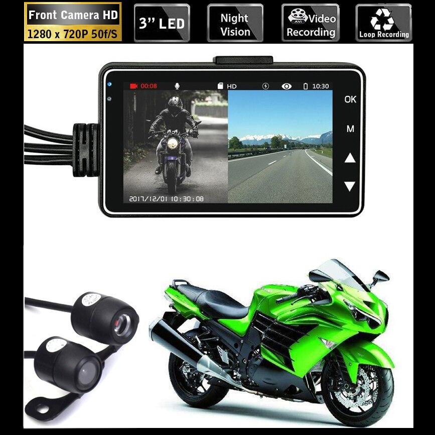 Cámara de salpicadero de Motor DVR de doble cámara HD para motocicleta con grabador trasero frontal de doble pista especial Moto electrónica Moto impermeable
