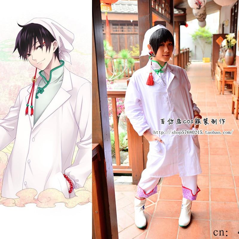 ¡Oferta! Disfraz Unisex de Anime Hoozuki no Reitetsu Hakutaku Doctor Cosplay conjunto completo blanco hombres mujeres traje para fiesta de Halloween