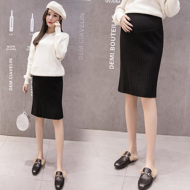 Faldas de maternidad de moda Coreana de otoño tejidas cintura elástica faldas del vientre faldas laterales para mujeres embarazadas embarazo C650