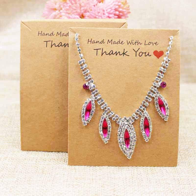 10 * 8cm200pcs dos diseños gracias tarjeta para presentación de joyas hecho a mano con amor collar embalaje Tarjeta de papel