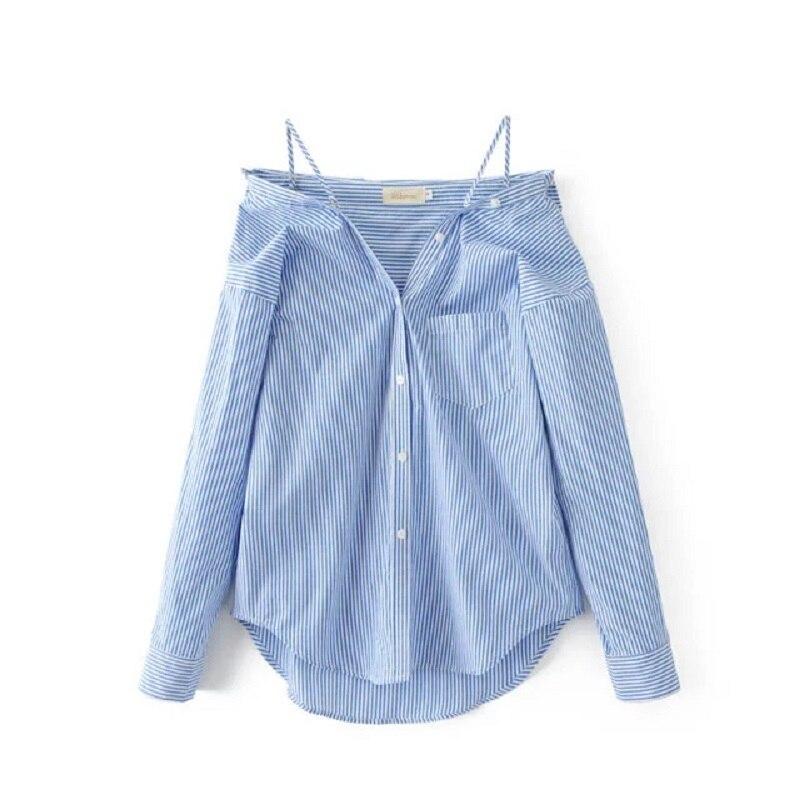 2019 estilo americano y europeo Blusa a rayas para mujer Sling manga larga Sexy cuello pico ropa de calle femenina Blusa Mujer