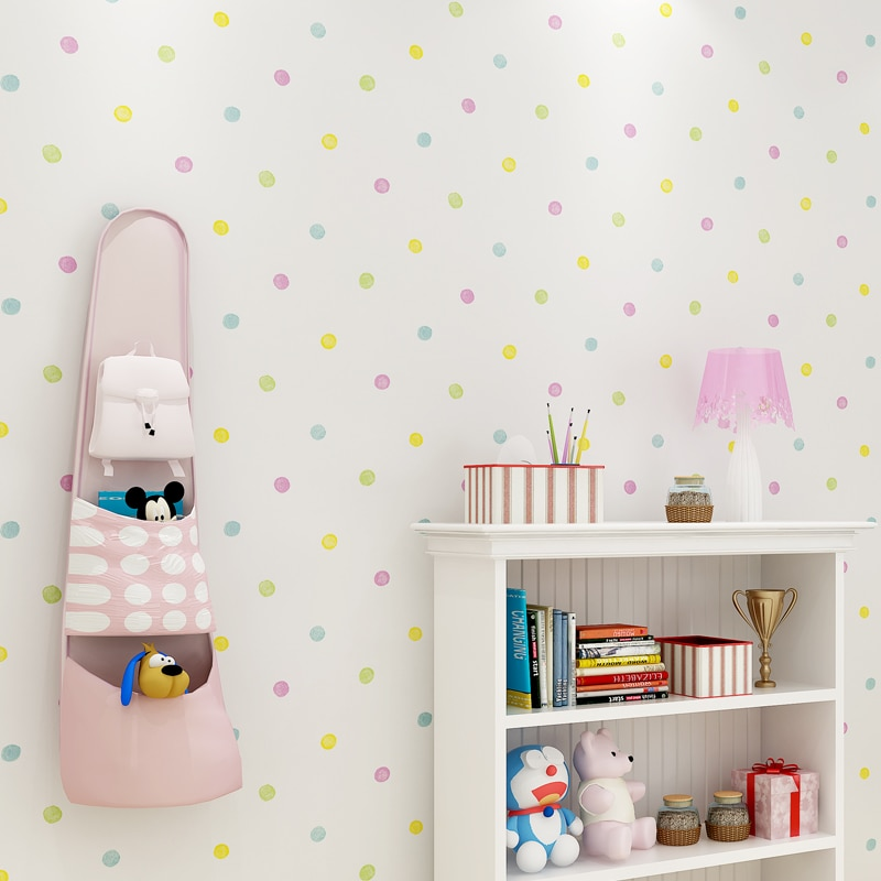 Colorful Polka Dots Printed Wallpaper Kids Room Wall Paper Lovely Children's Bedroom Self Adhesive Mural Wallpapers Roll EZ131 beautiful europe flowers wallpaper self adhesive non woven 3d floral wallpapers roll living room bedroom mural wall paper qz104