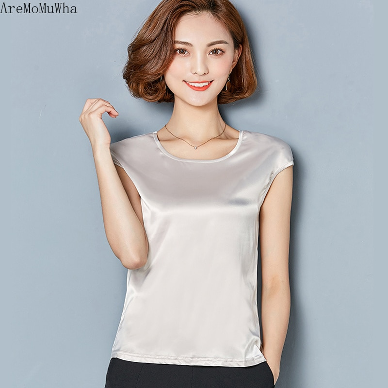 AreMoMuWha, chaleco de seda para mujer, novedad de verano 2019, holgado, de manga corta, de satén, ropa superior, tirantes exteriores para mujer MH185