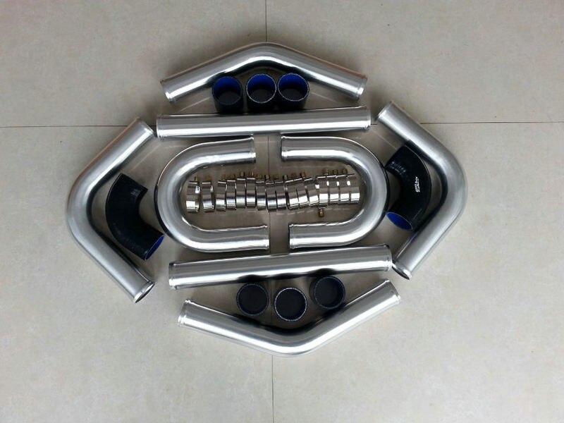 "Nuevo ROVER para 3 ""76mm, aluminio Universal, Intercooler, Kit de tuberías Turbo + kits de manguera negra"