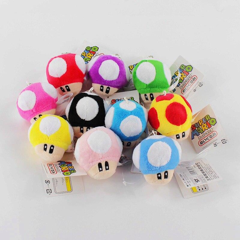 10pcs/Lot 6cm Anime Cartoon Plush Toys Mushroom Stuffed Keychain Pendants
