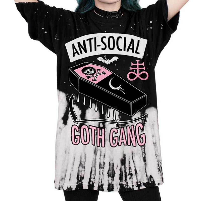 ANTI-SOZIALEN 3D Druck T Shirt GOTH GANG Harajuku Punk T-Shirt Sommer Stil Kleidung Tops Plus Größe Dropship