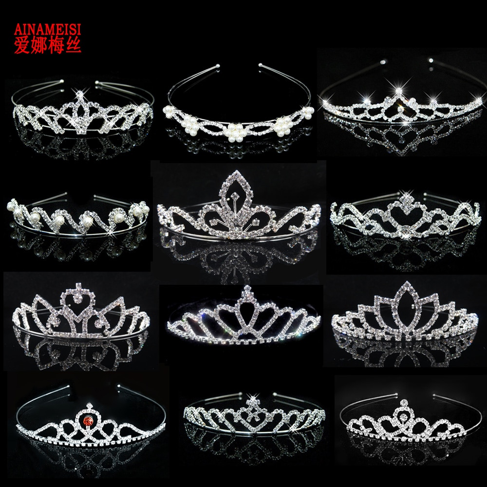AINAMEISI Princess Crystal Tiaras and Crowns Headband Kid Girls Love Bridal Prom Crown Wedding Party