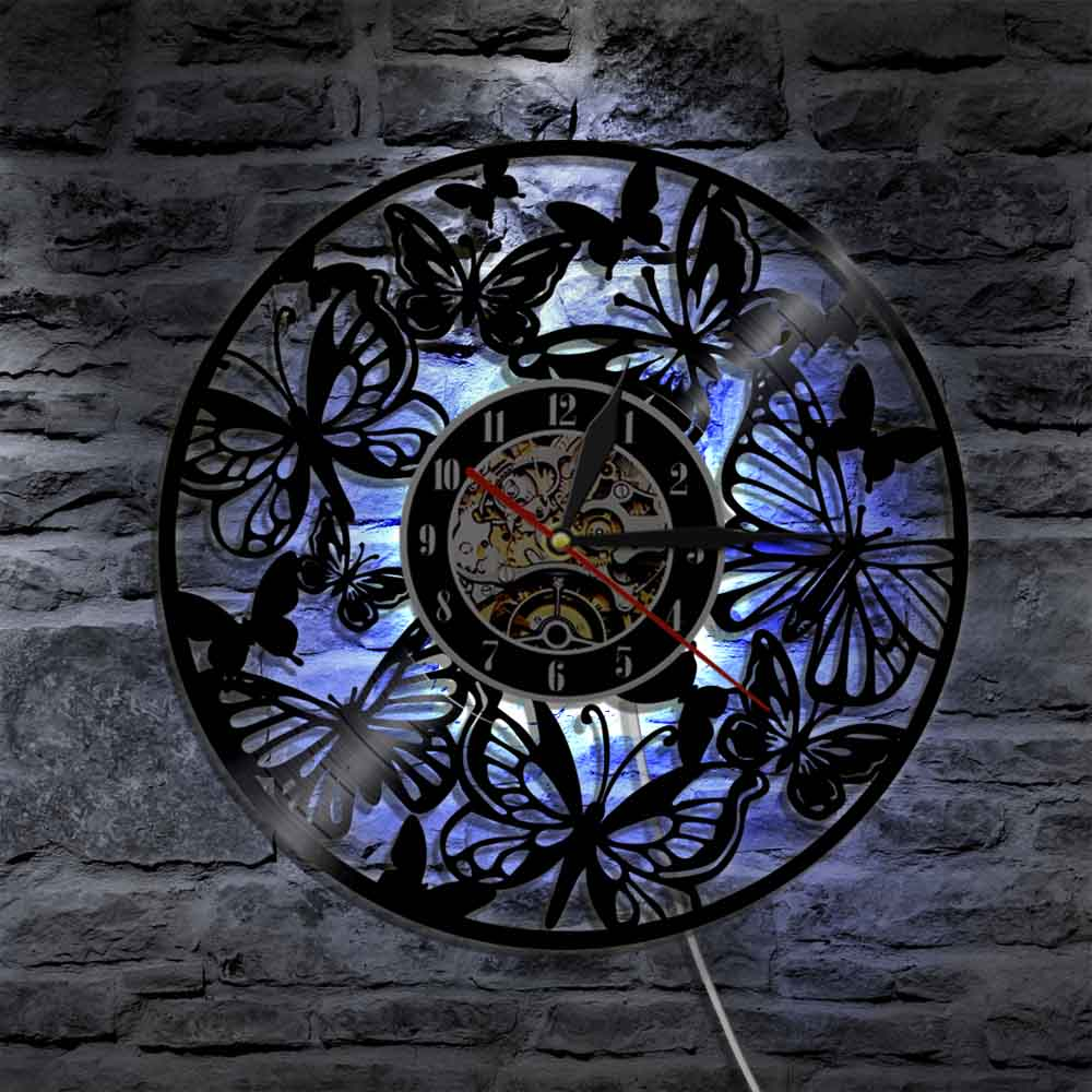 Round Hollow Butterfly Art Vinyl Record Clock Creative Butterfly Shape LED Wall Clock Antique Style Quartz Handmade Clock