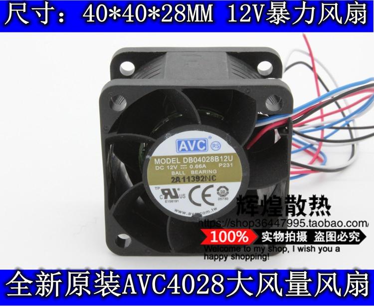 Nuevo AVC 4 CM 4028 12 v 0.66A DB04028B12U 4 servidor CM ventilador de refrigeración