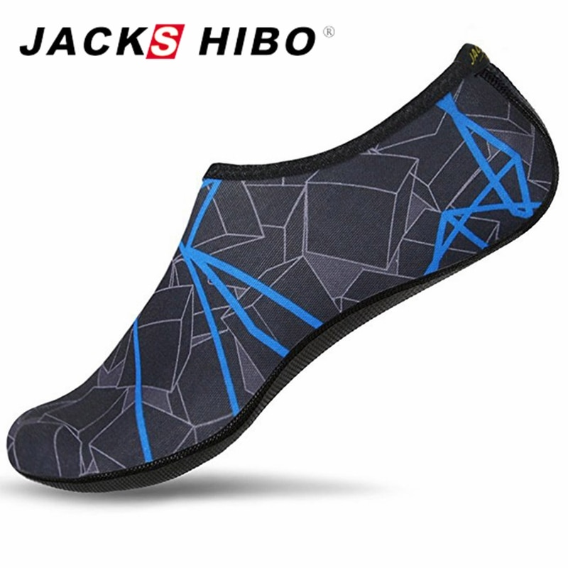 JACKSHIBO קיץ מים נעלי גברים שחייה נעלי אקווה חוף נעלי גדול בתוספת גודל Sneaker לגברים פסים צבעוני zapatos hombre