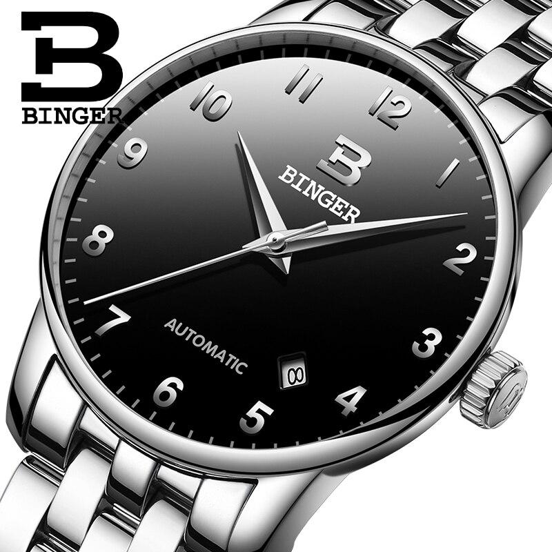 BINGER Mens Watches Top Brand  Luxury Business Mechanical Wristwatches Auto Date Men's Watch  Relogio Masculino 2019