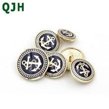 QJH-accessoires pour vêtements bricolage   1 pièces 15/20/25mm, boutons classiques en métal dorés dancre, boutons rétro monotrou faits à la main