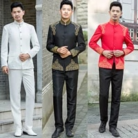 chinese tunic suit male performance wear set groom chinese style formal costume business traditional mandarin suit jacketpants