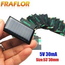 10 шт./лот 5 в 30 мА 53x30 мм Микро Мини Маленькие мощные солнечные батареи панели для игрушек «сделай сам», зарядное устройство 3,6 В Солнечная Светодиодная лампа солнечная батарея
