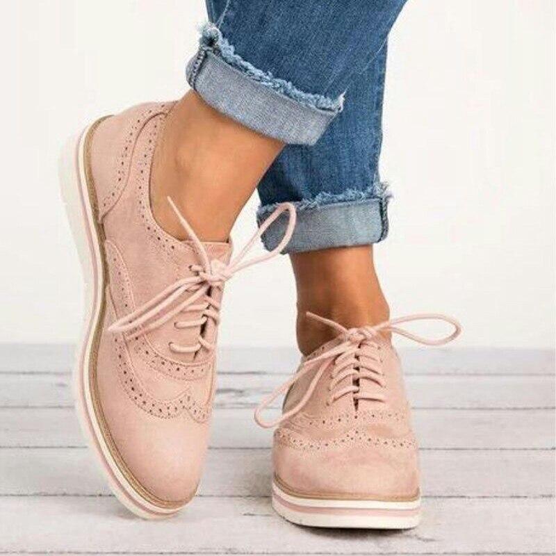 Women Flats Fashion Brogue Shoes Woman Platform Oxfords British Style Creepers Cut-Outs Flat Casual Women Shoes Big Size 35-43