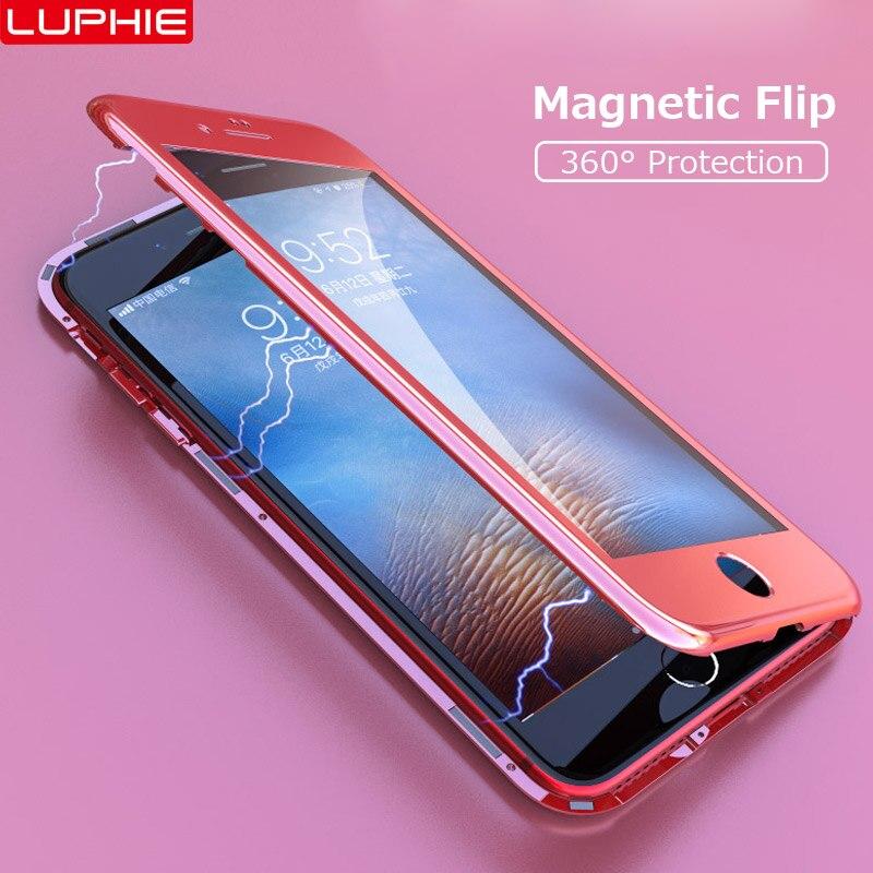 Магнитный адсорбционный флип-чехол для iPhone 6/7/X/8 Plus, закаленное стекло, Жесткий ПК чехол, фантастическое красочное покрытие PC