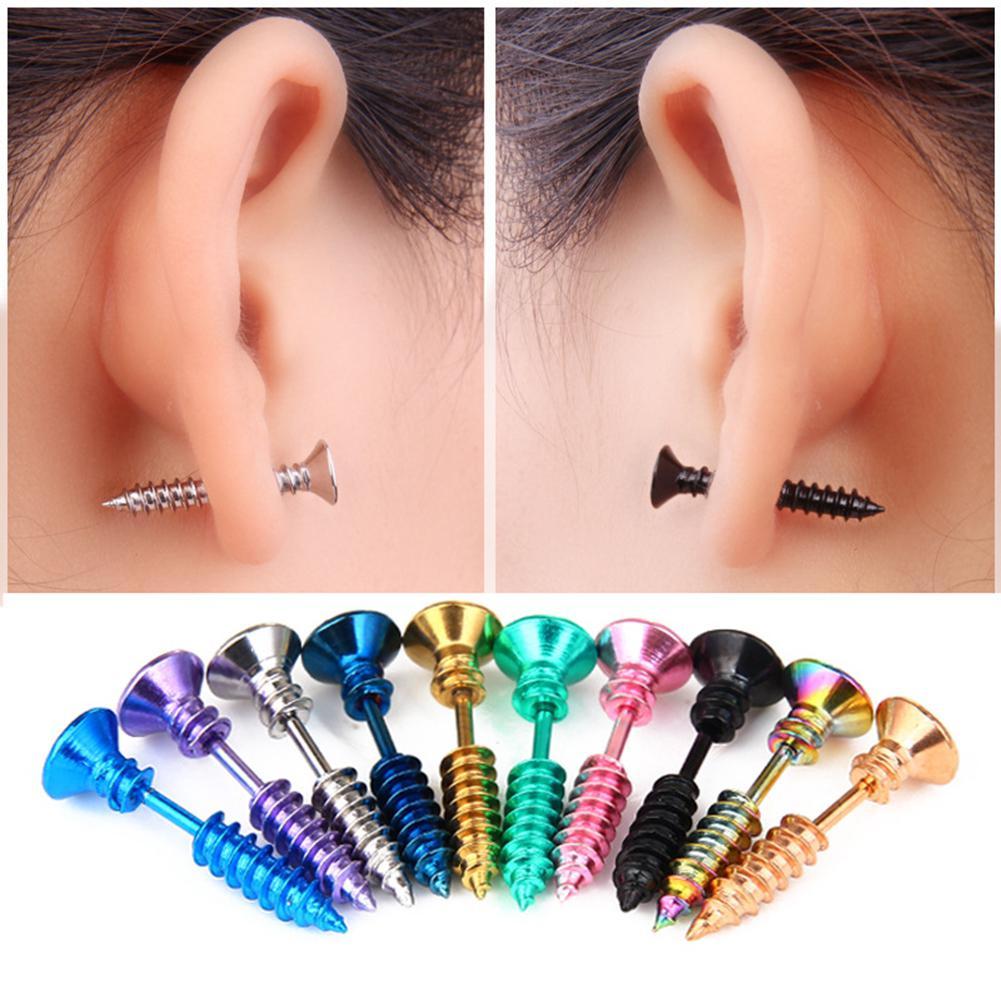DreamBell Unisex Women Men Earrings Stainless Steel Piercing Nail Screw Stud Earrings Punk Helix Ear
