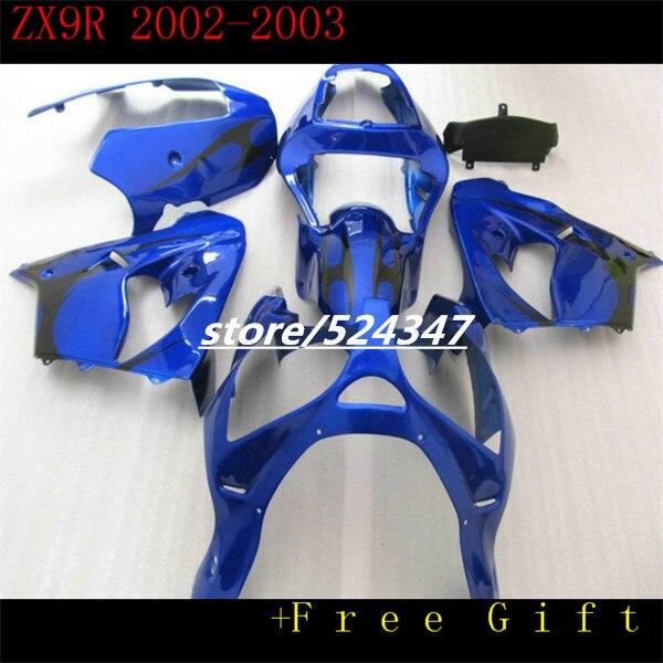 Fabricantes de ventas calientes Ninja ZX9R 02-03 ZX-9 r kawasaki Ninja ZX9R suave azul oscuro motocicleta carenado de negro llama-Hola
