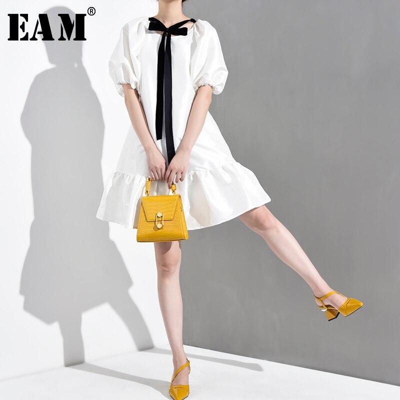 [EAM] 2020 nueva primavera verano cuello redondo manga corta blanco volantes Hem Bandage Bow Big Size vestido mujeres moda marea WD5070