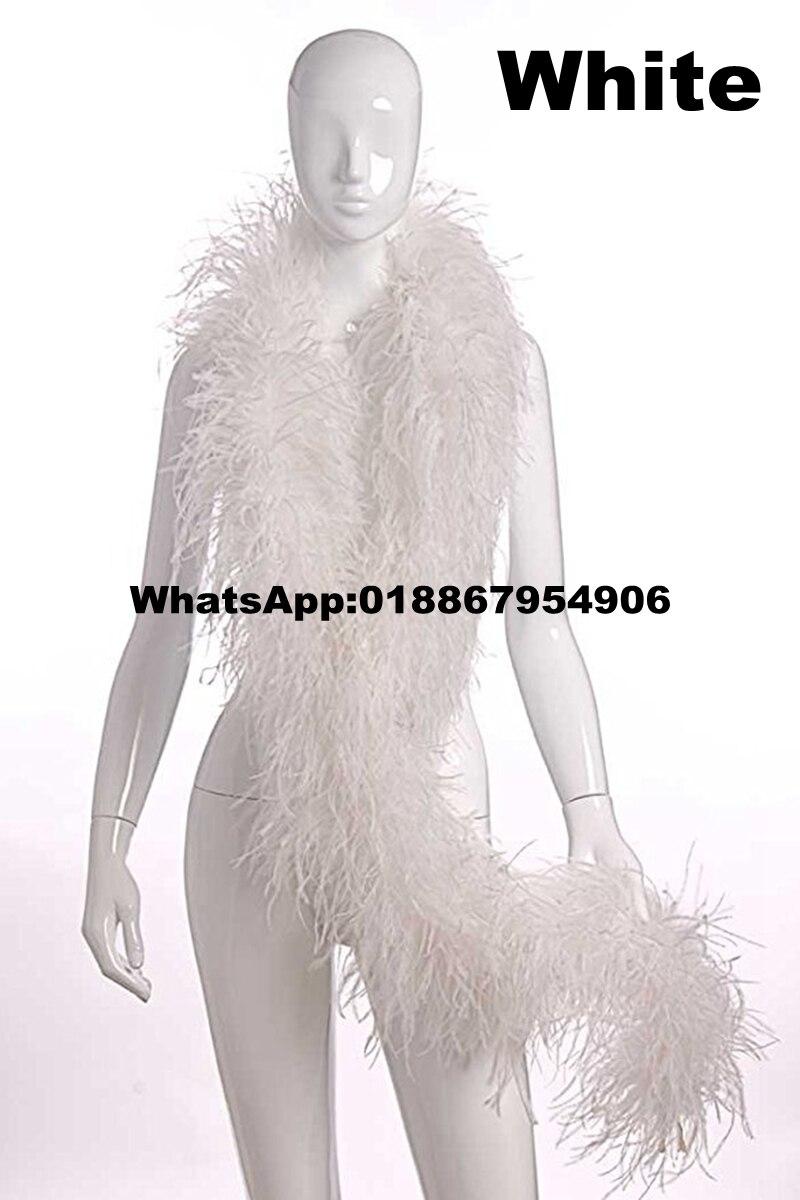 Asia Ra 10 metros blanco boas de pluma de avestruz 4plies hecho a mano flecos de pluma de avestruz para la decoración de la boda.