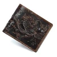 genuine leather men wallets long short style dragon tiger pattern small wallet card holder purse cross vertical male wallet gift