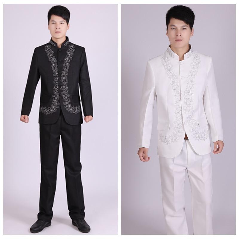 Bordado túnica tradicional Stand Collar trajes traje masculino bordado traje Boda China vestido antiguo túnica
