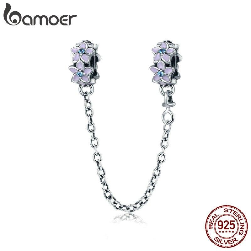 BAMOER 100% de Plata de Ley 925 púrpura flor Margarita esmaltada cadena de seguridad con tope encanto fit pulsera del encanto de la joyería de DIY SCC602