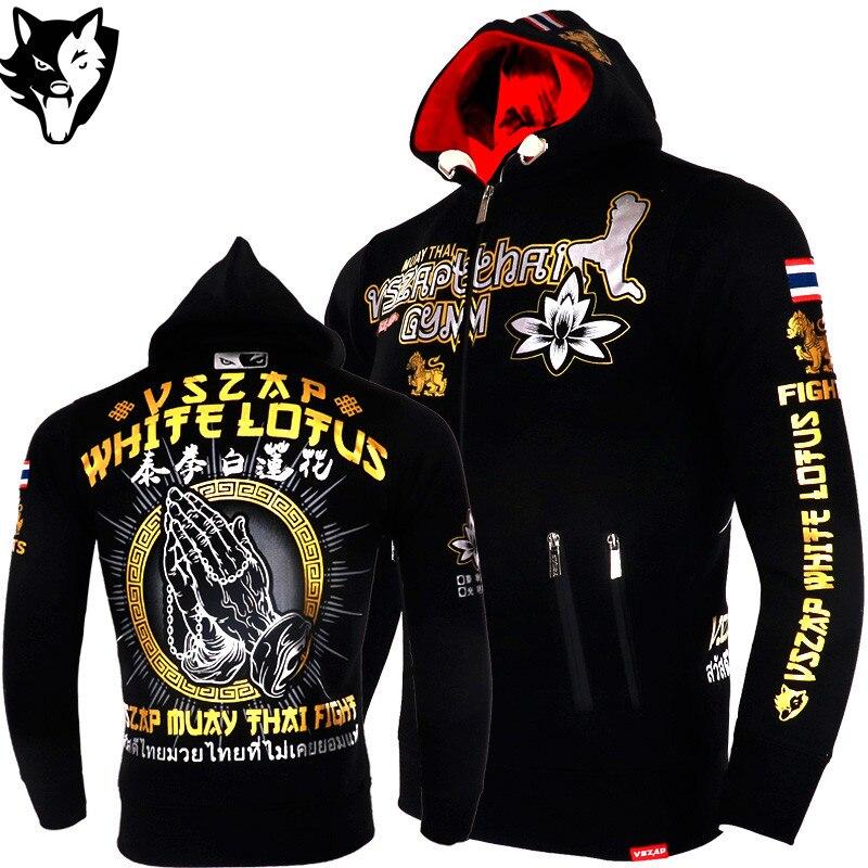 VSZAP cálido invierno Tigre Boxeo camiseta con capucha chándales ropa de MMA algodón transpirable lucha Muay Thai MMA Kickboxi gimnasio Boxeo