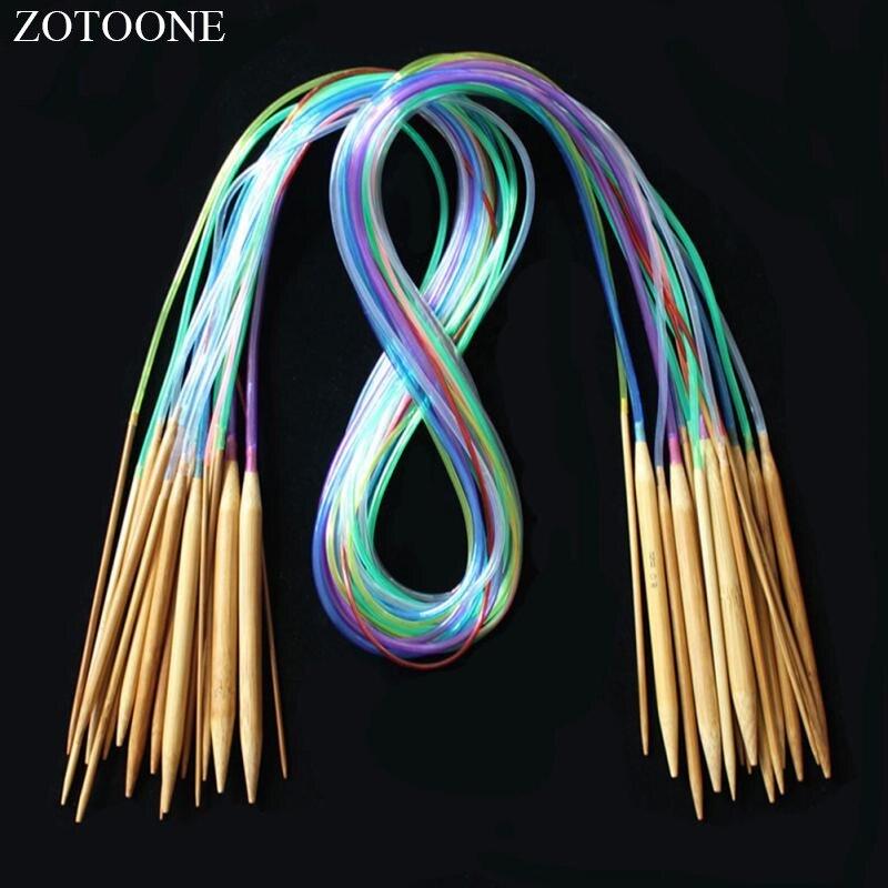 ZOTOONE разноцветная трубка 18 Размер/набор круглые спицы для вязания крючком аксессуары для шитья рукоделие инструменты для вязания стежка D