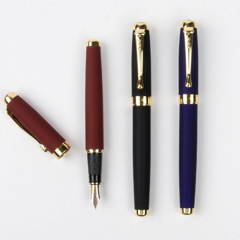 3 colores de lujo oro clip pluma estilográfica oficina escolar papelería 0,5mm escritura suave marca tinta pluma regalos