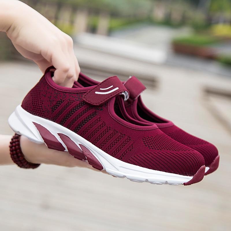 ¡Verano 2019! Zapatos de mujer para mamá, zapatillas de deporte confortables para caminar, zapatos de mujer a la moda, Color textil para mamá, zapatos de mujer Mary Jane