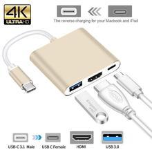 Usb c HDMI Typ c Hdmi mac 3,1 Konverter Adapter Rollenmaschinenlinie Typc zu hdmi HDMI/USB 3.0/Typ-C Aluminium Für Apple Macbook adapter