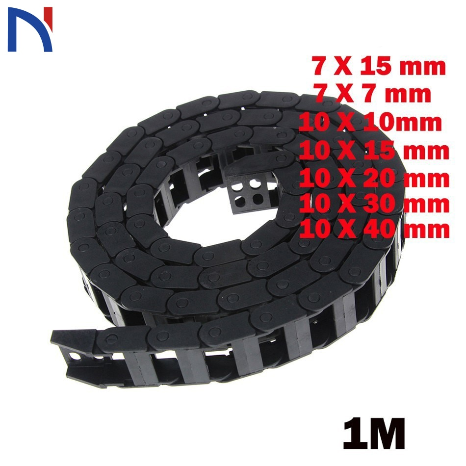7 x 15mm 7*15mm 7X7 10 X 20 30 40 mm L1000mm Cable Drag Chain Wire Carrier with End Connectors for CNC Router Machine Tools 1 meter 7 7mm 10 10mm cable drag chain for 3d printer transmission drag chain plastic router machine tools 3d printer part