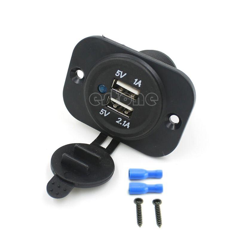 1A & 2.1A Charger Port Socket For Car Boat Motorcycle 12 volt Duel 2 USB Outlet